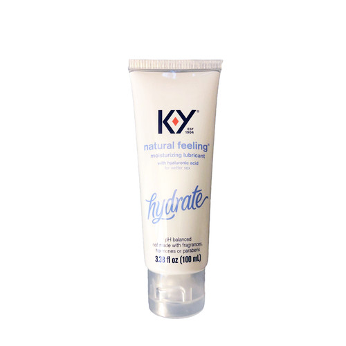 Buy the K-Y Natural Feeling Moisture Plus Hydrate Moisturizing Water-based Lubricant With Hyaluronic Acid in 3.38 oz Tube