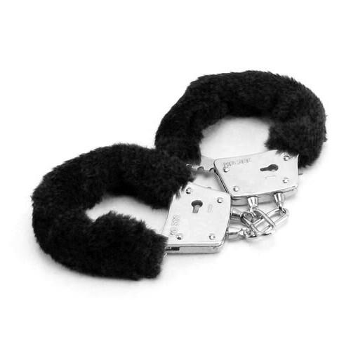 Buy the Fetish Fantasy Series Beginner's Adjustable Locking Furry Cuffs in Black metal handcuffs keys - Pipedream Toys