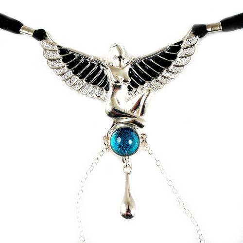 Buy The Breath of Pleasure Women's Silver & Black Kiss of Isis Figurine Pendant with Blue Topaz Gem & G-String Waist Band Enamel Beetle Clitoral Bead Labia Chains - Sylvie Monthule Erotic Jewelry made in France