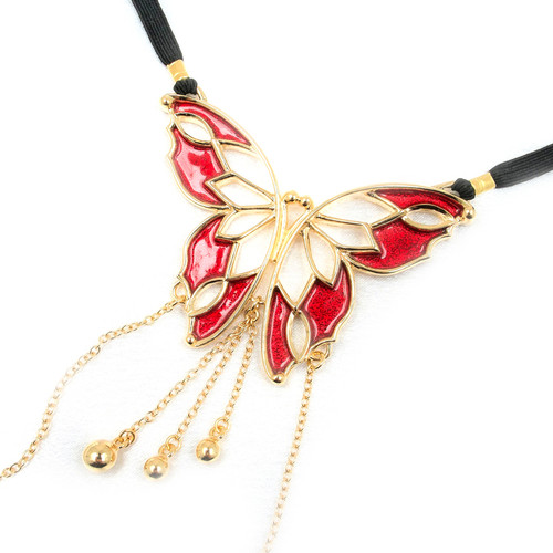 Buy The Vertigo of the Senses Women's Gold & Red Butterfly Figurine with Golden Clitoral Bead Pendant Drops & G-String Waist Band Labia Chains - Sylvie Monthule Erotic Jewelry made in France