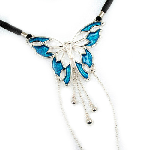 Buy The Vertigo of the Senses Women's Silver & Blue Butterfly Figurine with Sterling Clitoral Bead Pendant Drops & Oval Gem G-String Waist Band Labia Chains - Sylvie Monthule Erotic Jewelry made in France