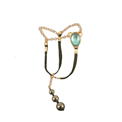 Buy The Men's Gold Sacred Stone Blue Egyptian Jewel Penis Chain with Hematite Testicle Pendants - Sylvie Monthule Erotic Jewelry made in France
