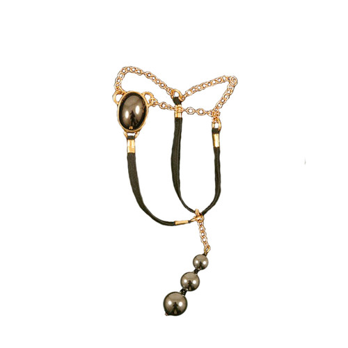 Buy The Men's Gold Sacred Stone Hematite Egyptian Jewel Penis Chain with Hematite Testicle Pendants - Sylvie Monthule Erotic Jewelry made in France