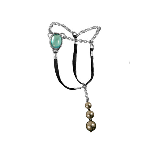 Buy The Men's Silver Sacred Stone Blue Egyptian Jewel Penis Chain with Hematite Testicle Pendants - Sylvie Monthule Erotic Jewelry made in France