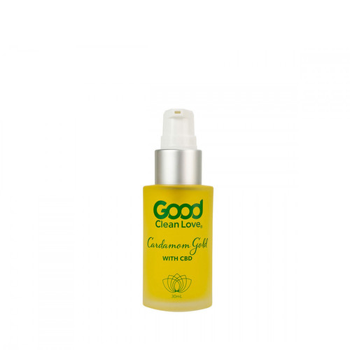 Buy the Aphrodisiac Love Oil Cardamom Gold with 50mg of pure Full Spectrum CBD in a 30ml Pump Bottle - Good Clean Love