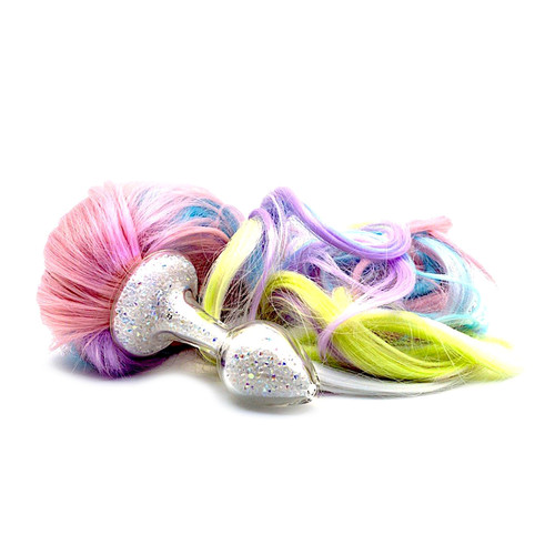 Buy the Sparkle Clear Aurora Borealis Crystals Glass Ponytail Short Stem Short Bulb Butt Plug with Detachable 5-Color Pastel Rainbow Pony Horse Tail Anal Role Playing - Crystal Delights