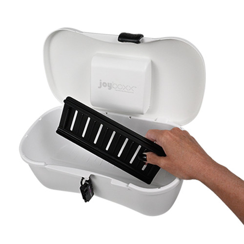 Buy the Joyboxx + Playtray Locking Antimicrobial Intimate Toy Storage Box System in White hygienic personal item protection - Passionate Playground