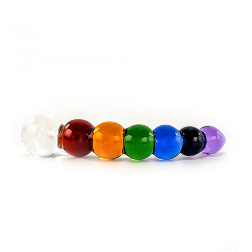 Buy the Artisan Collection Rainbow Colored Bubble Borosilicate Glass Dildo with Dichroic Bulb - Crystal Delights