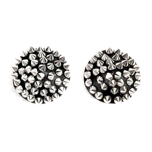 Buy the Nipztix Burlesque Bowser Silver & Black Spiked Pleather Reusable Silicone Pasties Nipple Covers 1 Pair - Neva Nude