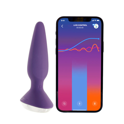 Buy the Plug-ilicious 1 12-function Bluetooth Remote App-Controlled Rechargeable Silicone Vibrating Anal Plug in Purple & Chrome Buttplug Prostate Stimulator - EIS Satisfyer