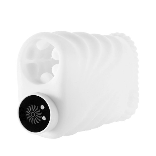 Buy the Hands-Free Silicone Masturbating Stroker with 10-function Rechargeable Bullet Vibrator in White - Nasswalk Nasstoys