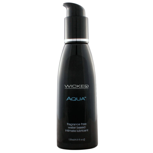 Buy the Aqua Fragrance-Free Water-based Intimate Lubricant in 2 oz enriched with Aloe & Vitamin E - Wicked Sensual Care Collection