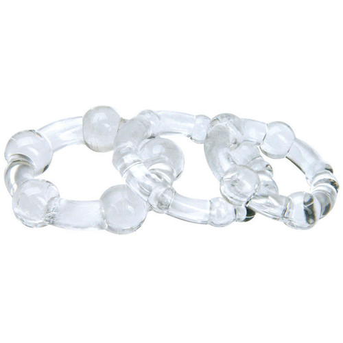 Blush Novelties Stay Hard Beaded Cock Ring Trio Clear