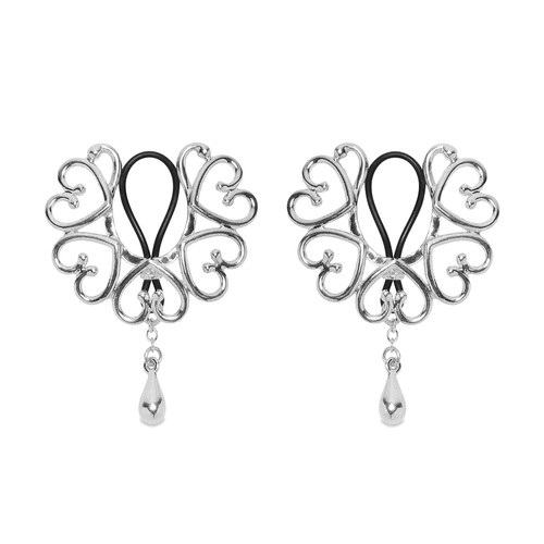 Buy The Women's Silver Wreath of Hearts Non-Piercing Rosette Nipple Rings with Sterling Teardrop Pendant - Sylvie Monthule Erotic Jewelry made in France