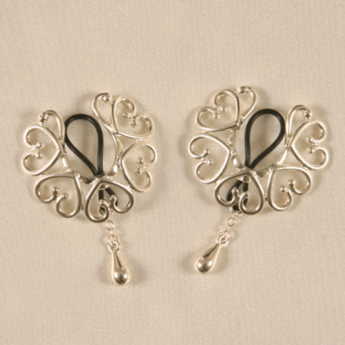 Sylvie Monthule Women's Silver Non Piercing Nipple Rings Wreath of Hearts