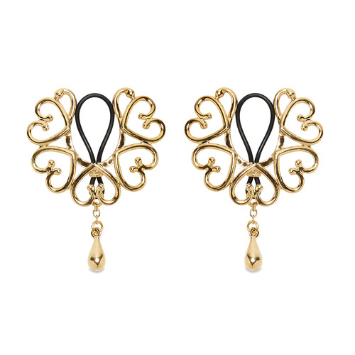Buy The Women's Gold Wreath of Hearts Non-Piercing Rosette Nipple Rings with Golden Teardrop Pendant - Sylvie Monthule Erotic Jewelry made in France