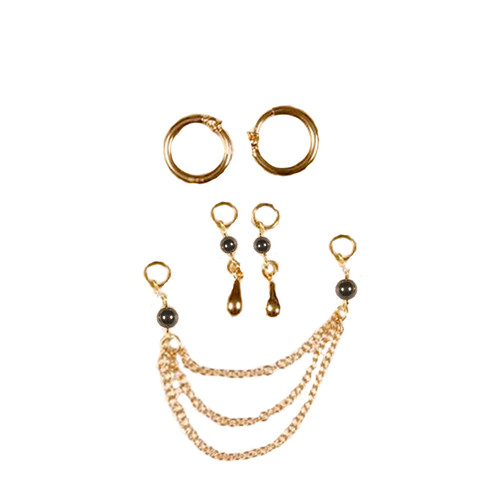 Buy the Women's 16k & 24k Gold & Hematite Pearls Droplets Non-Piercing 3-in-1 Labia Ring Set in Gift Box - Sylvie Monthule Erotic Jewelry Made in France