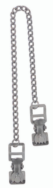 Spartacus Teeth Nipple Clamps with Chain Chrome