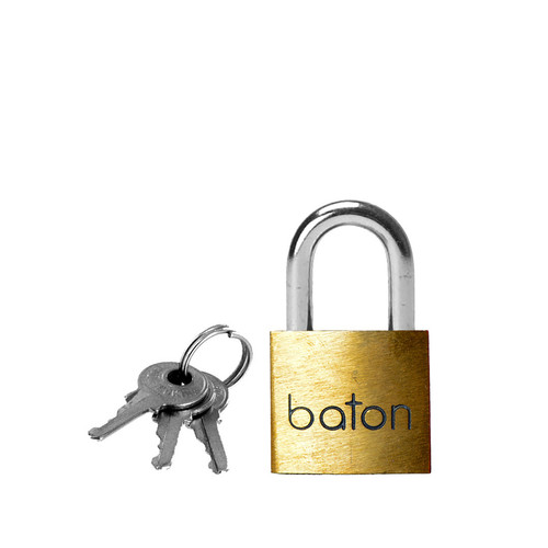 Buy the Master Series Baton 40mm Brass Padlock with 2 Keys - XR Brands
