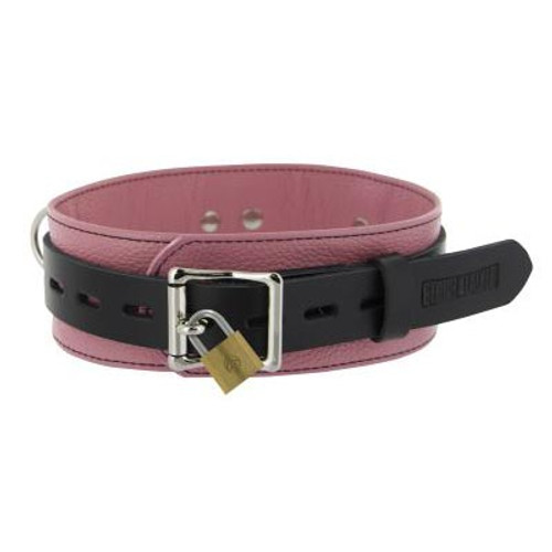 Strict Leather Deluxe Black and Pink Locking Collar