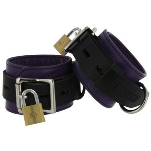 Strict Leather Deluxe Black & Purple Locking Leather Wrist Cuffs