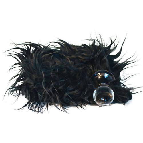 Crystal Delights Minx Glass Butt Plug Faux Fur Tail Mongolian Black