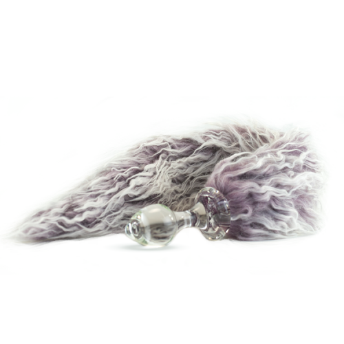 Crystal Delights Minx Glass Butt Plug Faux Fur Tail Frosted Eggplant