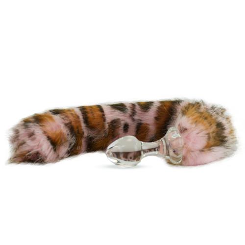 Crystal Delights Minx Glass Butt Plug Faux Fur Tail Pink Snow Leopard
