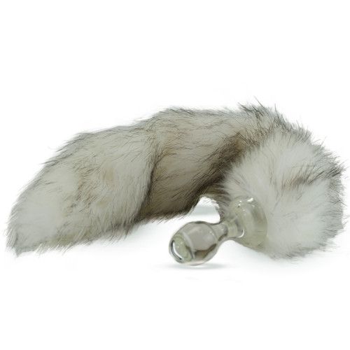 Crystal Delights Minx Glass Butt Plug Faux Fur Tail Husky