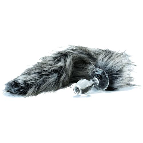 Crystal Delights Minx Glass Butt Plug Faux Fur Tail Tundra Wolf