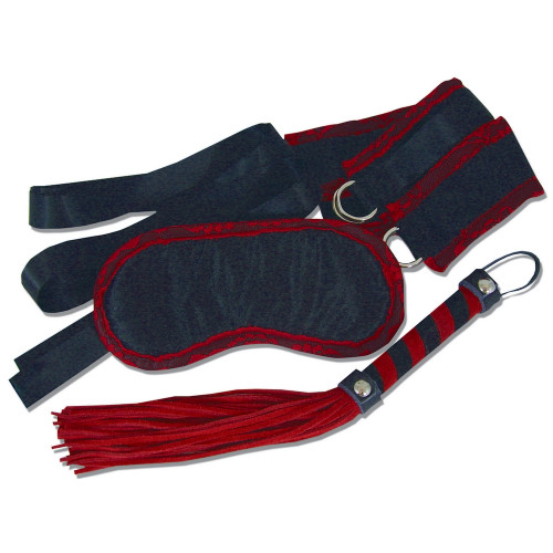 Sportsheets Leather and Lace Luxury Kit Red and Black