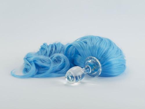Crystal Delights Crystal Minx Blue Faux Pony Tail Dichroic Plug Short Stem Small Bulb