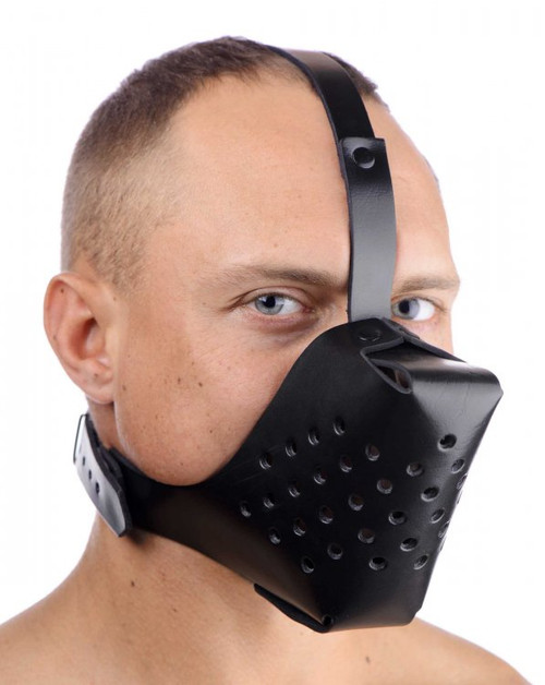 Strict Leather Adjustable Leather Dog Muzzle Black