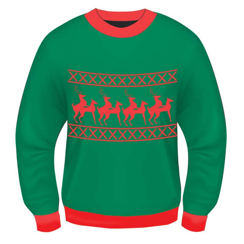 Forum Novelties Christmas Sweater Reindeer Games L/XL