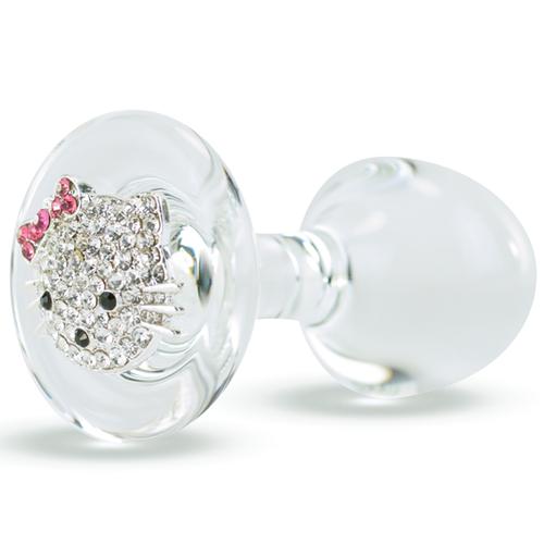 Crystal Delights Happy Kitty Rhinestone Medallion Glass Anal Plug Clear