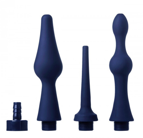 CleanStream Universal Cleansing Tips 3 Piece Silicone Enema Attachment Set is available at Dallas Novelty AD431 These versatile enema attachments make this set the perfect bathroom accessory for intimate water play. With two uniquely shaped attachments and one slim tapered tip, CleanStream has your cleansing regimen covered! Each attachment is made of body safe, premium silicone, so it is flexible enough to bend with the body yet firm enough to glide in easily. Each attachment piece works with the CleanStream Bag and Shower Systems, as well as the Enema Bulbs.