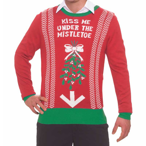 Forum Novelties Christmas Sweater Kiss Me Under the Mistletoe L/XL