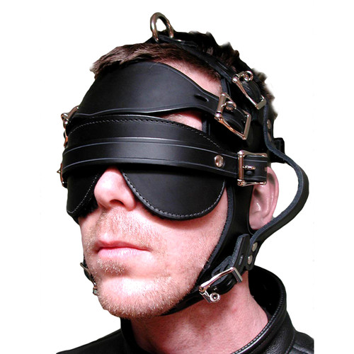 Buy the Inescapable Locking Leather Head Harness in Black - StockRoom