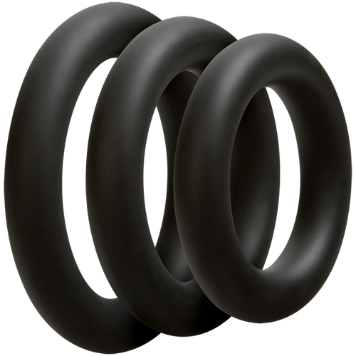 OptiMALE Thick 3 C-Ring Set Silicone Black