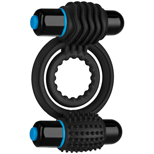 OptiMALE Vibrating Double C-Ring Silicone Black