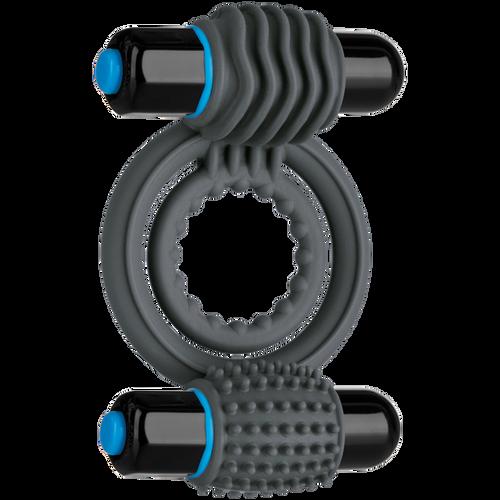 OptiMALE Vibrating Double C-Ring Silicone Slate