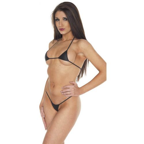 Buy the Leather Mini Bra & Bikini Panty Set in Black - Rimba Erotic Fashion