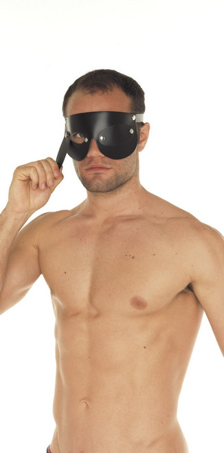 Rimba Leather Blindfold with Removeable Blinders Black