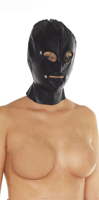 Rimba Leather Executioners Mask with Removeable Blinders and Mouth Black