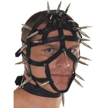 Rimba Spiked Leather Face Mask With Open Straps Dallas Novelty