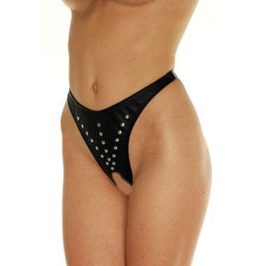 Rimba Leather Black Open Crotch Thong With Rivets Dallas Novelty