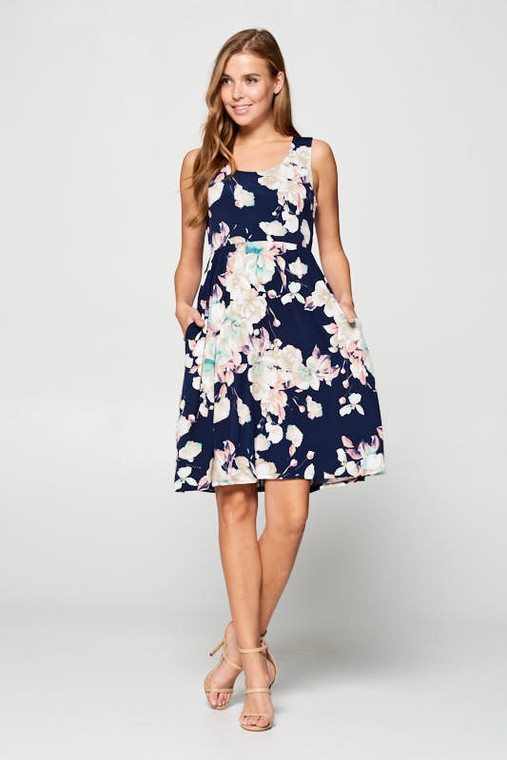 Navy Summer Floral Printed Sleeveless Mini Dress with Pockets