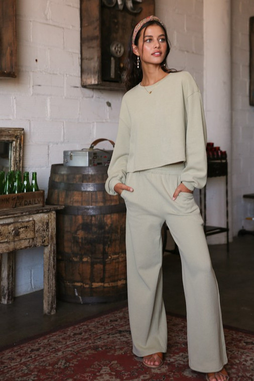 Listicle Olive Cotton Knit Soft Comfy Sweat Top and Pants Lounge 2pc Set