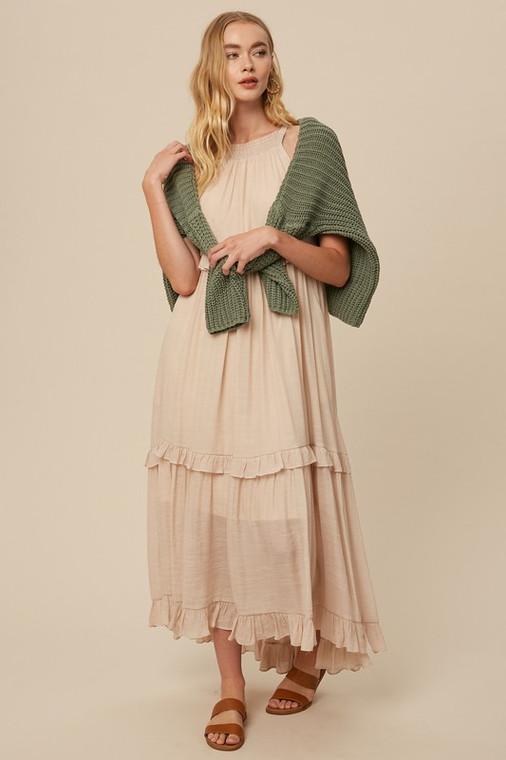 Champagne Textured Woven Halter Neck Ruffle Pocket Maxi Long Dress
