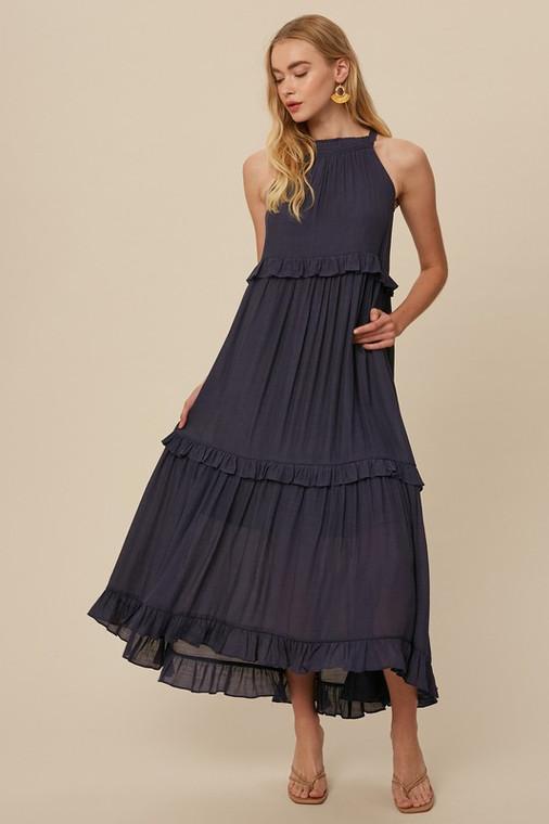 Navy Textured Woven Halter Neck Ruffle Pocket Maxi Long Dress